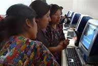 Women working on the computers in Guatemala